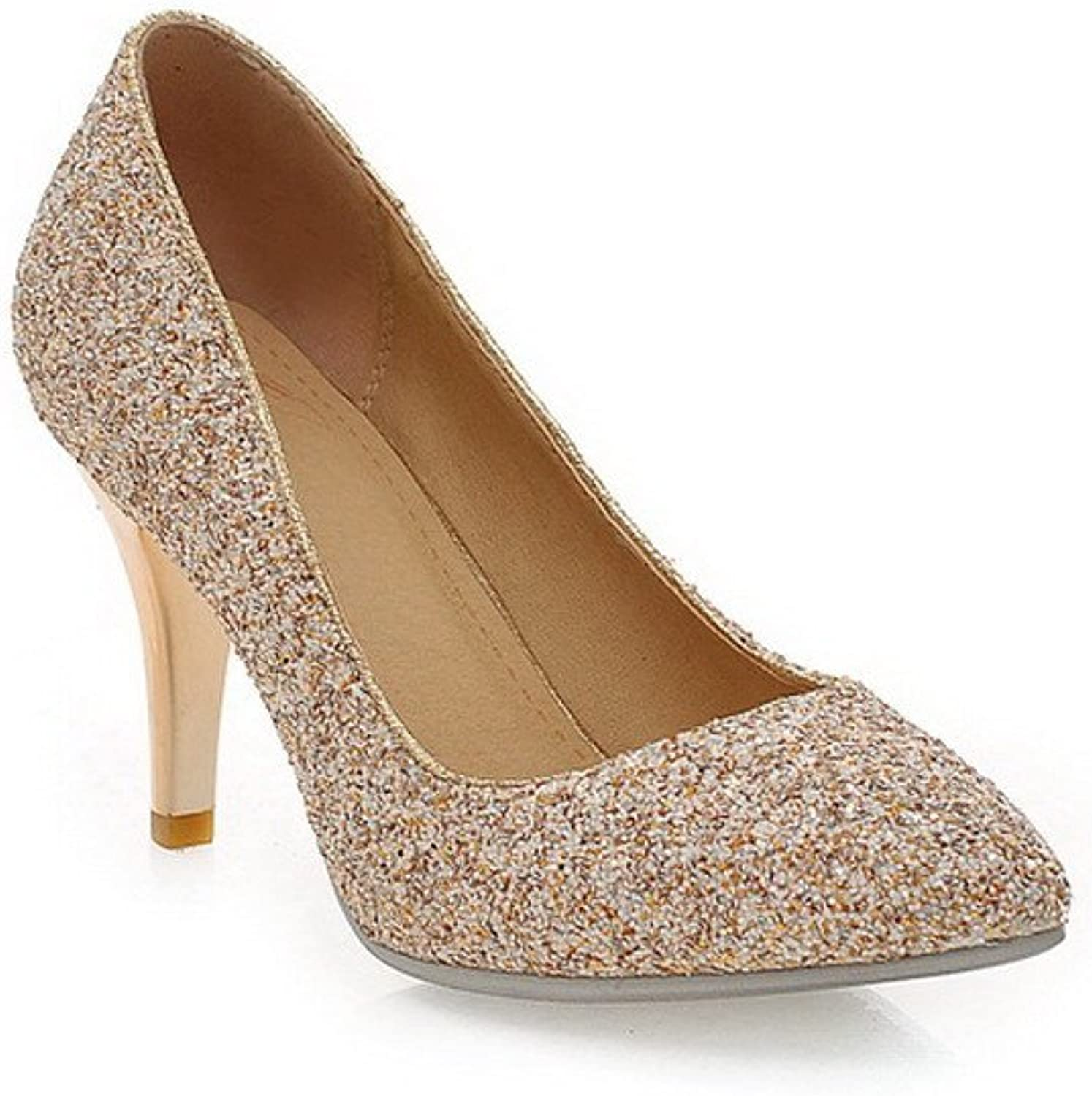 WeiPoot Womens Closed Po2015ted Toe High Heel Frosted PU Solid Pumps with Sequ2015, gold, 9.5 B(M) US