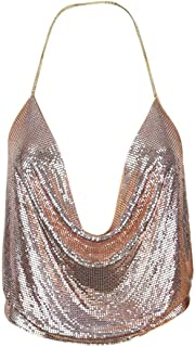 Xinantime Womens Casual Camisole Sexy V-Neck Halter Backless Chain Sequined Tank Vest