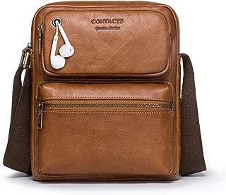 Mens Bag Vintage Leather Briefcase Crossbody Day Bag for School and Work Multiple Pocket Men's Messenger Shoulder Bag High capacity