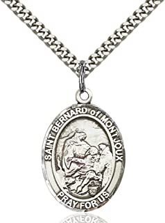 St. Bernard of Montjoux Hand-Crafted Oval Medal Pendant in Sterling Silver