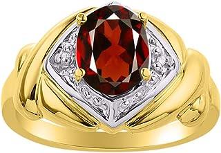 Diamond & Garnet Ring Set in 14K Yellow Gold