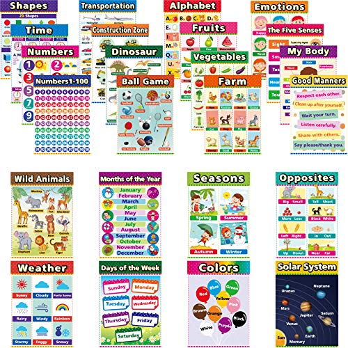 24 English Style Large Educational Posters For Kids Toddlers, Includes: Alphabet Colors Numbers Shapes Months Days Weather Time Animals Solar System Seasons Map 16.5x12 Inch (24 Pieces)