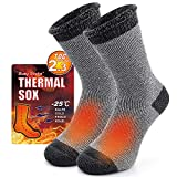 7. Warm Fuzzy Thermal Socks for Women Winter, Busy Socks Outdoor Athletic Socks for Trapping Hiking Trekking Skiing 1 Pair Dark Grey