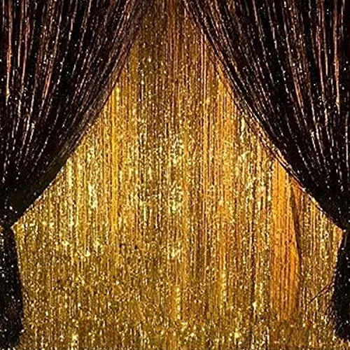 2PCS 3' X 8' Gold and Black Metallic Tinsel Foil Fringe Curtain Birthday Party Baby Shower Decoration Backdrop