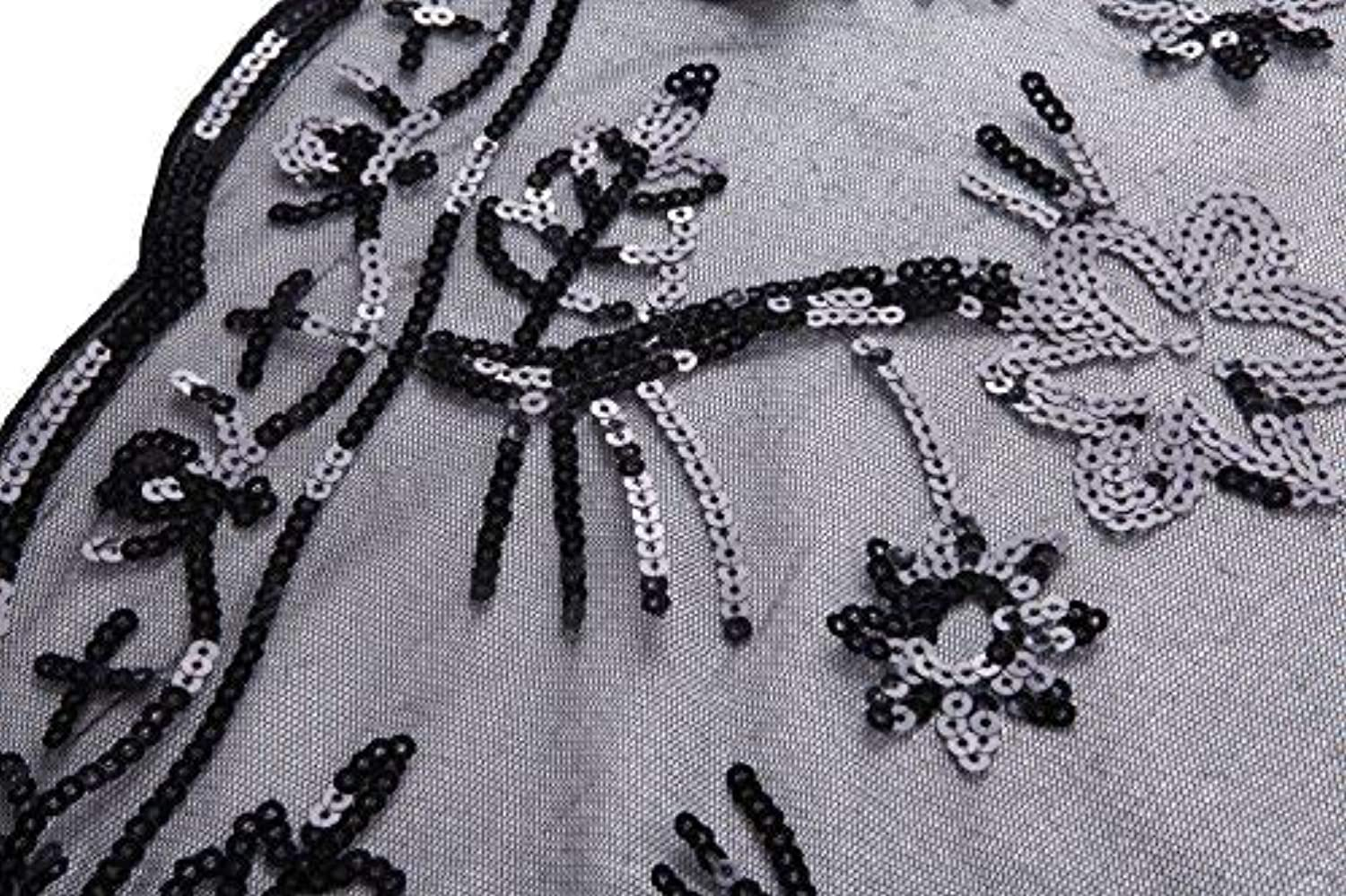 FAIRY COUPLE 20s Beaded Sequin Wrap Evening Shawl Flapper Cape Glitter W20S003