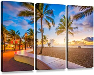 Fort Lauderdale Beach Florida Print On Canvas Wall Artwork Modern Photography Home Decor Unique Pattern Stretched and Framed 3 Piece