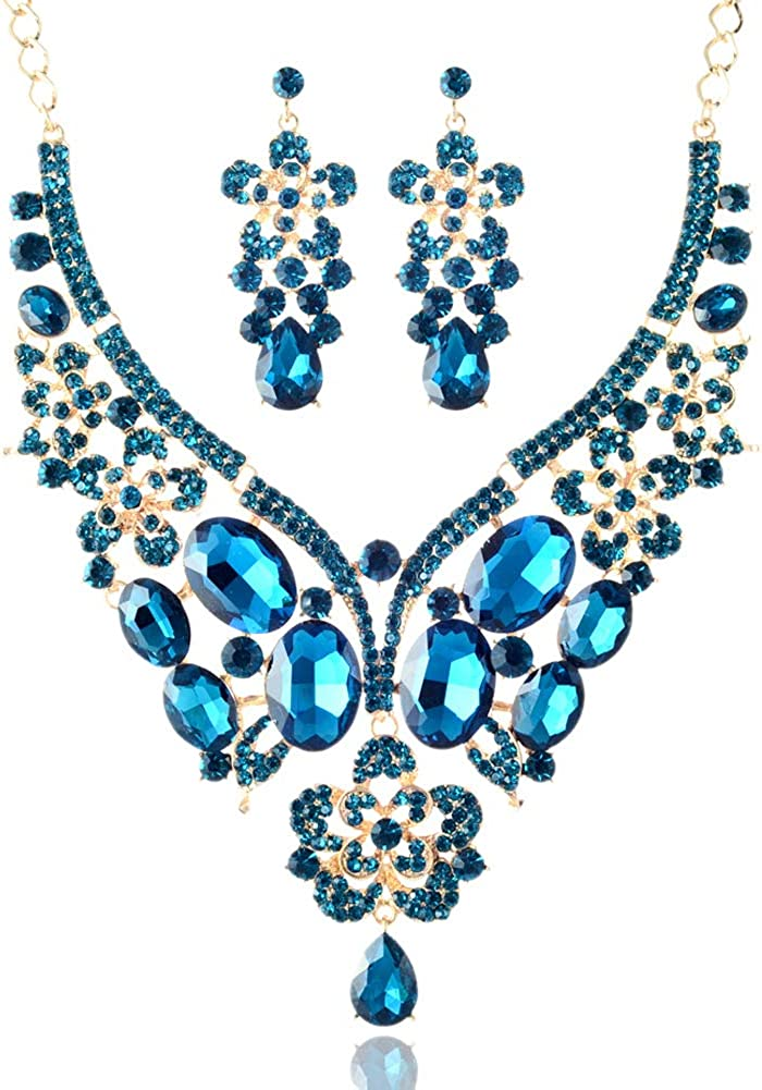 LAN PALACE 8 Colors Glass Rhinestone Jewelry Sets 18K Gold Plated Necklace and Earrings for Wedding Gift Box Packaged