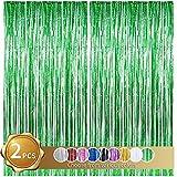 Cortinas de Oropel 2Pcs Verde Metálica Cortina de Borlas de Fondo Cortinas Fiesta Brillante Aluminio Flecos Cortinas Para Decoración Pared Fiestas Cumpleaños Navidad Boda Graduación(1m x 2m)