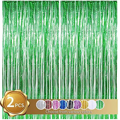 2er Pack Folienfransen Vorhang, grüne Lametta Metallic Vorhänge Foto Hintergrund für Hochzeit Verlobung Brautdusche Geburtstag Bachelorette Party Bühnendekor (3,28 ft x 6,56 ft)