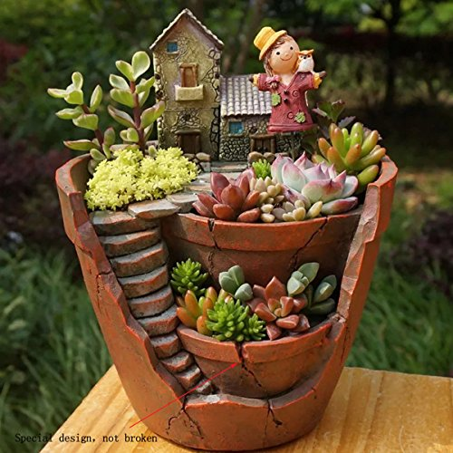KING DO WAY Maceta Sky Garden de Resina para Jardín para Plantas, Cactus, Decoración de Casa...