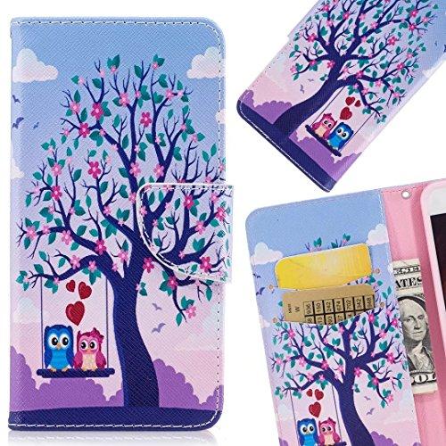 LEMORRY pour Sony Xperia XZ Premium Etui Gaufré Cuir Flip Portefeuille Pochette Mince Bumper Protecteur Magnétique Fente Carte Silicone TPU Housse Cover Coque pour Sony XZ Premium, Mignonne Owl Arbre