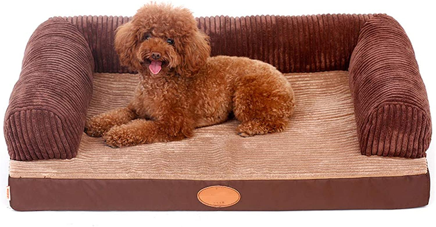 Pet house Kennel, Luxury Brown Large Dog Bed Cat Pet Mat Short Plush Frabric Four Seasons Detachable With Cleanable (color   C, Size   S)