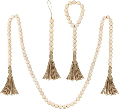 DICOBD 3 Pack Wood Bead Garland with Tassels Farmhouse Rustic Wooden Beads Garland Prayer Beads for Wall Hanging Decor