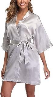 Women's Short Kimono Robe Bridal Party Robe for Bridesmaid Satin Sleepwear