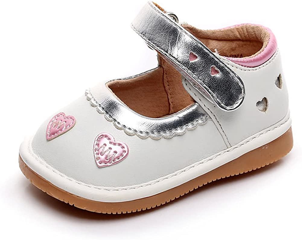 UBELLA Toddler Girl's Squeaky Shoes Punch Princess Mary Jane Flats (Removable Squeakers)