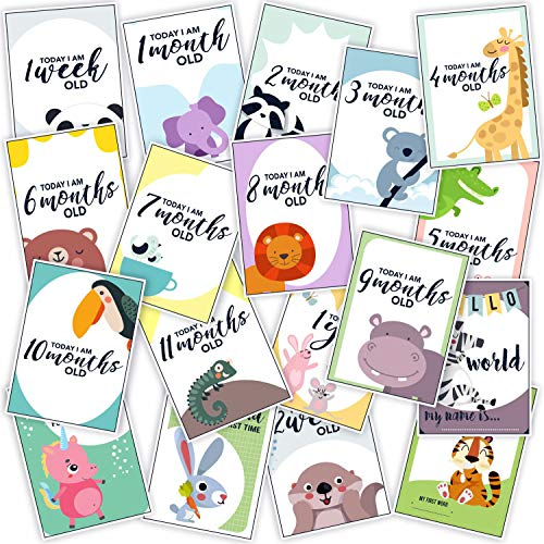 WOBBOX Baby Monthly Milestone Cards, Record 0-12 Months Growth Milestones Cards, Baby Shower Gift Scrapbook Photo Keepsake Monthly Age Markers Card (13 Pcs )