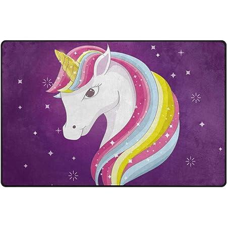 Cartoon Cool Unicorn Rainbow Non-skid Door Bath Mat Room Decor Rugs Floor Carpet