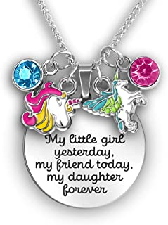 A Touch of Dazzle Mother Daughter Necklace My Little Girl Yesterday Father Daughter Necklace | Unicorn | Butterfly | Bumble Bee | Ladybug Charms