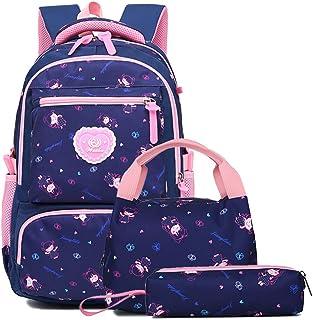 Schulrucksack Rucksack Mädchen Schultaschen Sets Schulranzen mit Lunch-Taschen Federmäppchen 3 Teile Set Freizeitrucksack ...