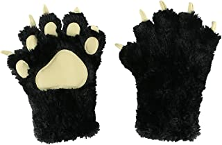 Bear Dino Animal Paw Claw Costume Cosplay Gloves Mitts for Adult Kids by LazyOne (Black Mitt, Medium)