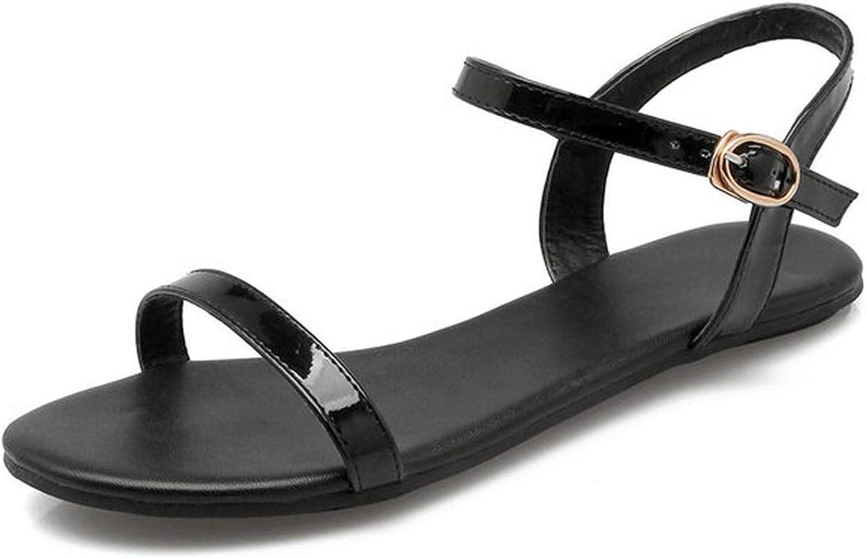 Women Sandals Summer Ankle Strap Sandals Flip Flops shoes Flat Sandal,Black,3
