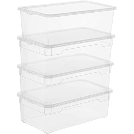 Rotho Clear Ensemble de 4 Boîtes de Rangement 5L avec Couvercle, Plastique (PP) sans BPA, Transparent, 4 x 5L (33,0 x 19,0 x 24,0 cm)