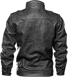 Pingtr Men's Leather Baseball Bomber Jacket Vintage Suede Motorcycle Cafe Racer Retro Moto Distressed Leather Jacket Pilot...