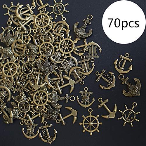 DAHI Anker Anhänger Steuerrad Anhänger 70 stück Schmuckzubehör Basteln Charms tibetischen Stil Anhänger Für Halskette Armband (Bronze)