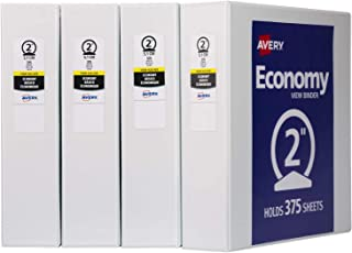 "Avery 2"" Economy View 3 Ring Binder, Round Ring, Holds 8.5"" x 11"" Paper, 4 White Binders (19202)"