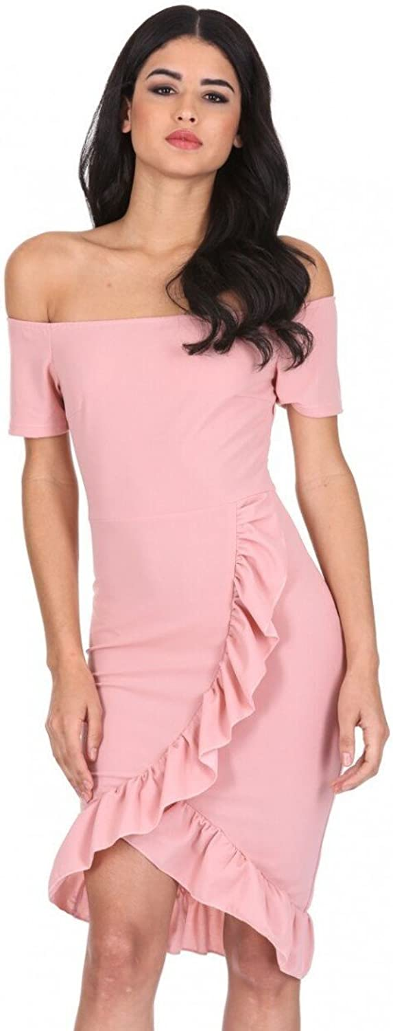 AxParis AX Paris Women's Off The Shoulder Frill Detail Bodycon Dress