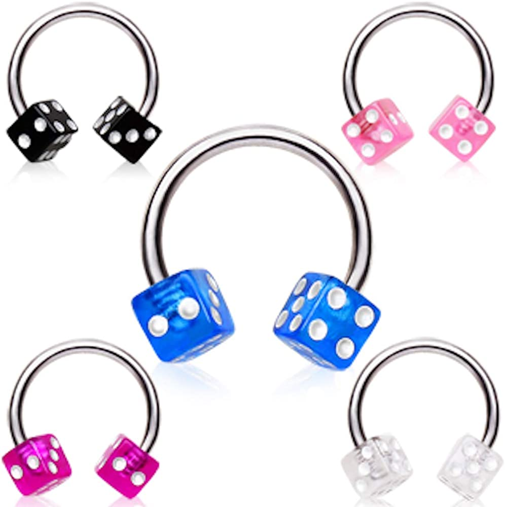 Covet Jewelry 316L Surgical Steel Horseshoe with UV Dice Balls
