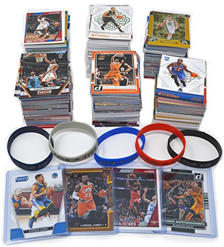800 Basketball Cards 1990s and 2017-20: Stephen Curry, Lebron James, Giannis, James Harden Guaranteed + 5 Wristbands Gift Bundle