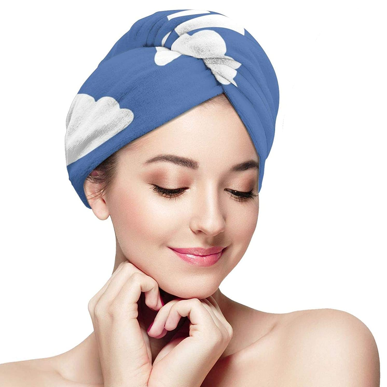 Womens Hair Drying Towel Wrap Turban With Button White Clouds Blue Sky Soft Absorbent Microfiber Bath Head Wrap Twist For Long & Curly Hair