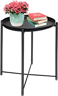 Ulrikenly End Table, Metal Waterproof End Table, Snack and Coffee Table, Potted Table, Round Side Table, Foldable Small Sofa Table with Removable Tray for Living Room Bedroom Balcony and Office