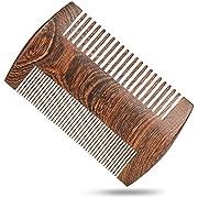 H&S Wooden Beard Comb Anti Static Moustache Pocket Comb Wood Coffee Sandalwood for Men