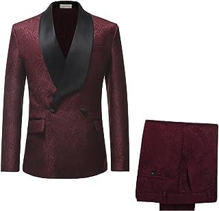 5e686ca1b1cc Mens Suit Slim Fit 2-Piece Double Breasted Blazer Fashion Dress Business &  Trousers