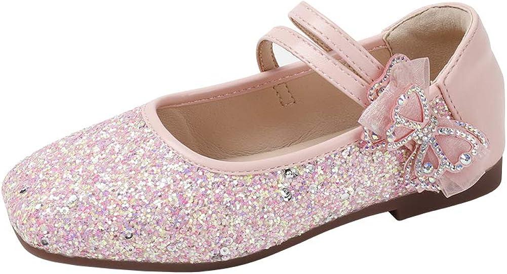 N/P Joeupin Girls Glitter Ballet Flats Mary Janes Little Kids Wedding Party Dress Shoes
