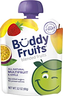 Buddy Fruits Pure Blended Fruit To Go Multifruit Applesauce | 100% Real Fruit | No Sugar, Non GMO, Vegan, Gluten Free, No ...
