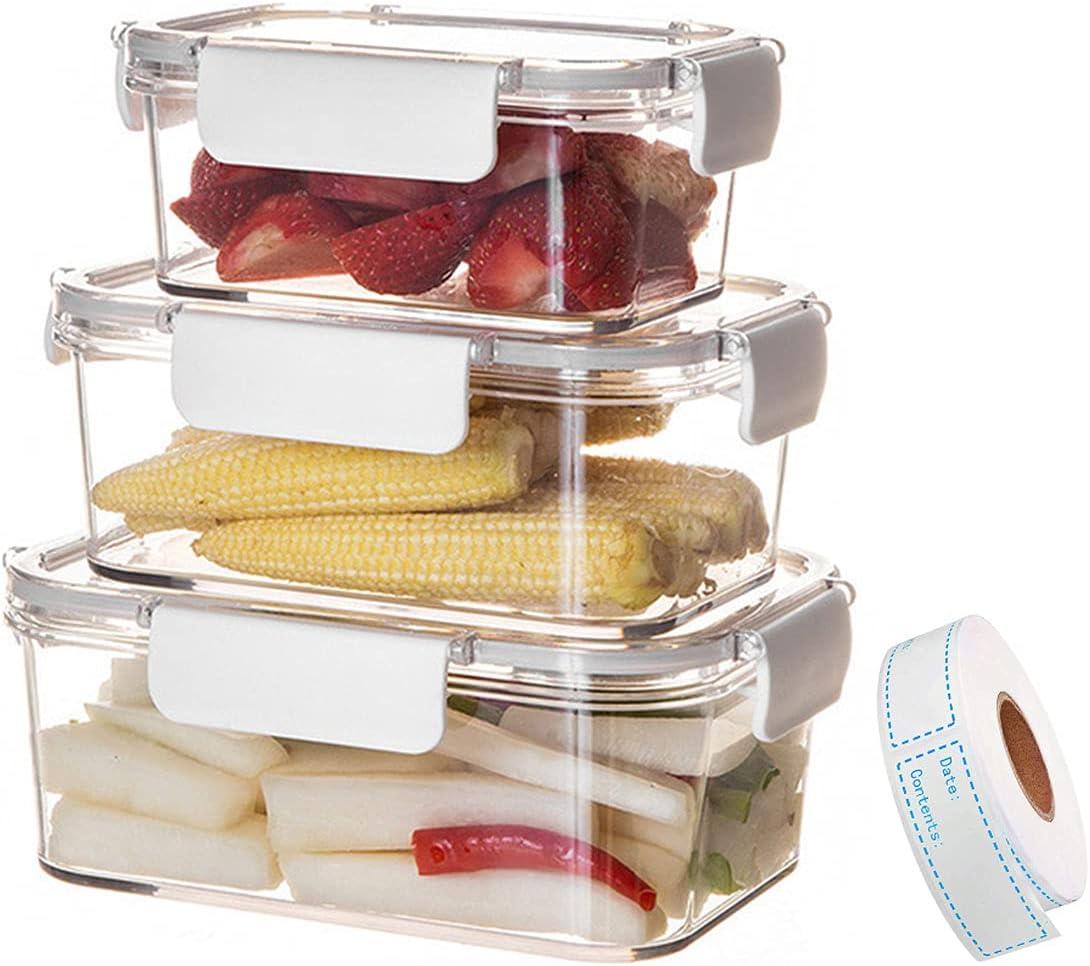 WYOUTDOOR Set of Ranking TOP12 3 Clear Refrigerator Food Gifts Bins Organizer Storag