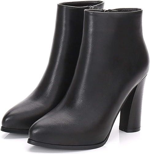 HBDLH Chaussures pour femmes 9Cm Talons Hauts Hiver Jogging Mes Bottes D'épaisseur des Bottes De Cuir des Bottes à Poil Court Tube Martin Bottes Et Le Velours.