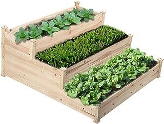 go2buy 3 Tier Raised Garden Bed Cedar Garden Box Wooden Vegetables/Flower/Herb Elevated Garden Planter Boxes DIY