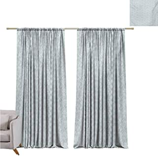 Andrea Sam Beaded Curtain Vintage,Lace Pattern Backdrop with Floral Composition Victorian Inspirations Wedding,Seafoam White W84 x L84 inch,for Bedroom Curtain for Living Room