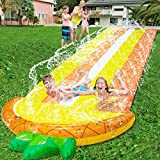 16.1 Ft Lawn Water Slides Slip for Kids, Double Race Pineapple Slip Slide Play Center with Splash Sprinkler Inflatable Crash Pad for Children Summer Backyard Swimming Pool Games Outdoor Water Toys