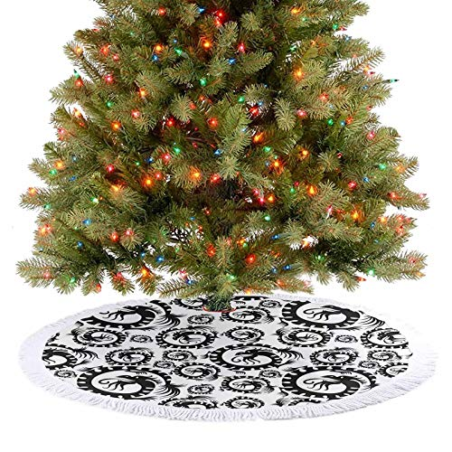 Christmas Tree Skirt Antique Art Chinese Dragon Pattern Decorative Vintage Illustration Print Black and White Xmas Holiday Party Decorations A Contemporary Look and Appeal - 30 Inch