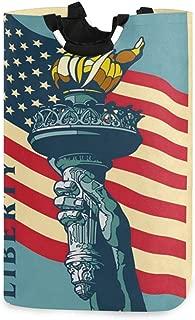 Cesta Plegable para Ropa Sucia con dise/ño de Calavera con Bandera Americana con Asas iRoad