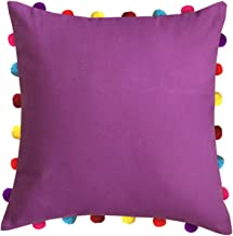"""Lushomes Bordeaux Square Cushion Cover with Colorful Pom pom (Single pc, 18 x 18"""")"""