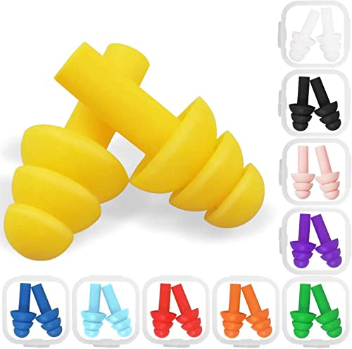 10 Pairs Swimming Earplugs Silicone Noise Cancelling Ear Plugs Reusable Waterproof Earplugs with Case for Swimming an...