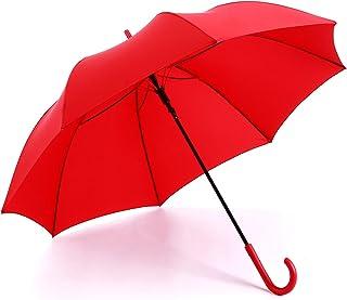 RUMBRELLA Red Umbrella Auto Open with J Hook Handle, Windproof Stick Umbrellas
