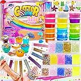 DIY Slime Kit para Niñas Niños, Fabrica de Slime con 18 Colores Crystal Slime, Resplandor en el...