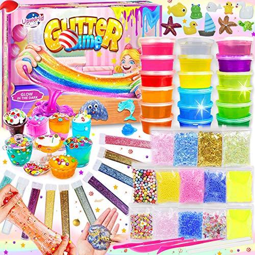 Upworld DIY Slime Kit Schleim Set, Schleim Selber Machen mit 18 Farben Crystal Schleim, Ultimativem Leuchtet im Dunkeln Pulver, Glitterpulver und mehr für Kunsthandwerk Mädchen Jungen Geschenk